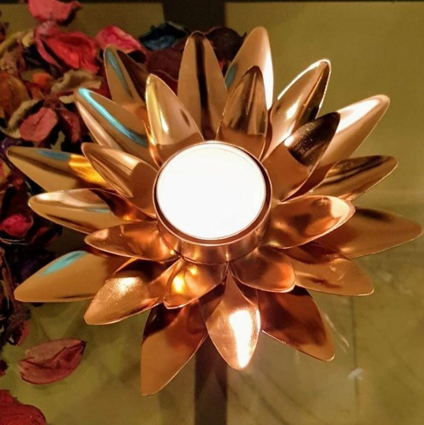 Copper Finished Lotus Tea Light Candle Holders