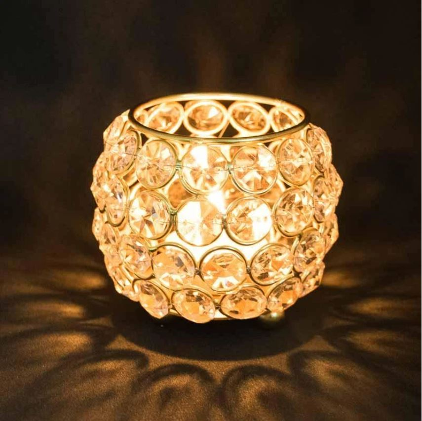 Crystal Embellished Diya With LED Light