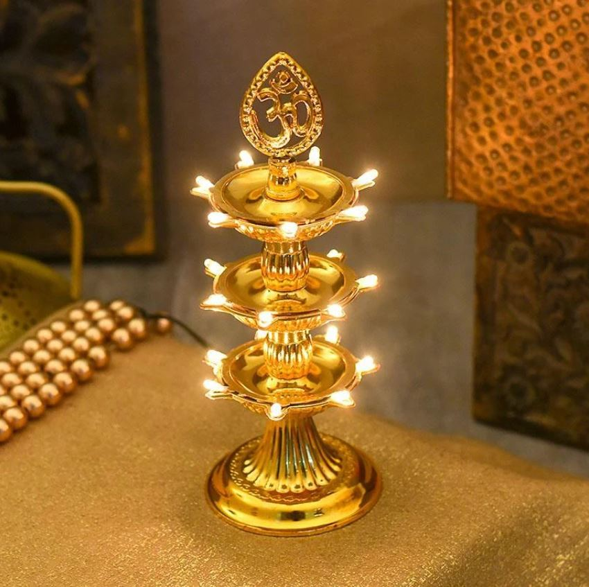 Traditional LED Layered Decorative Diya Stand