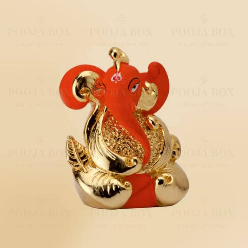 24 K Gold Foil Leaf Finish Ganesha Idol