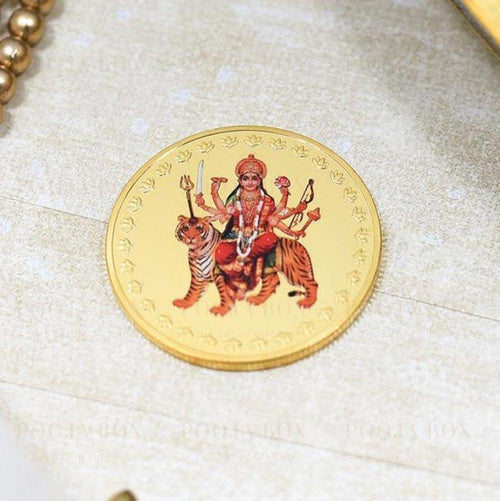 24K Gold Foil Durga Maa Coin & Bar