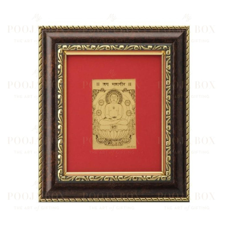 24K Gold Foil Mahavir Swami Small Card Frame Framed Paintings