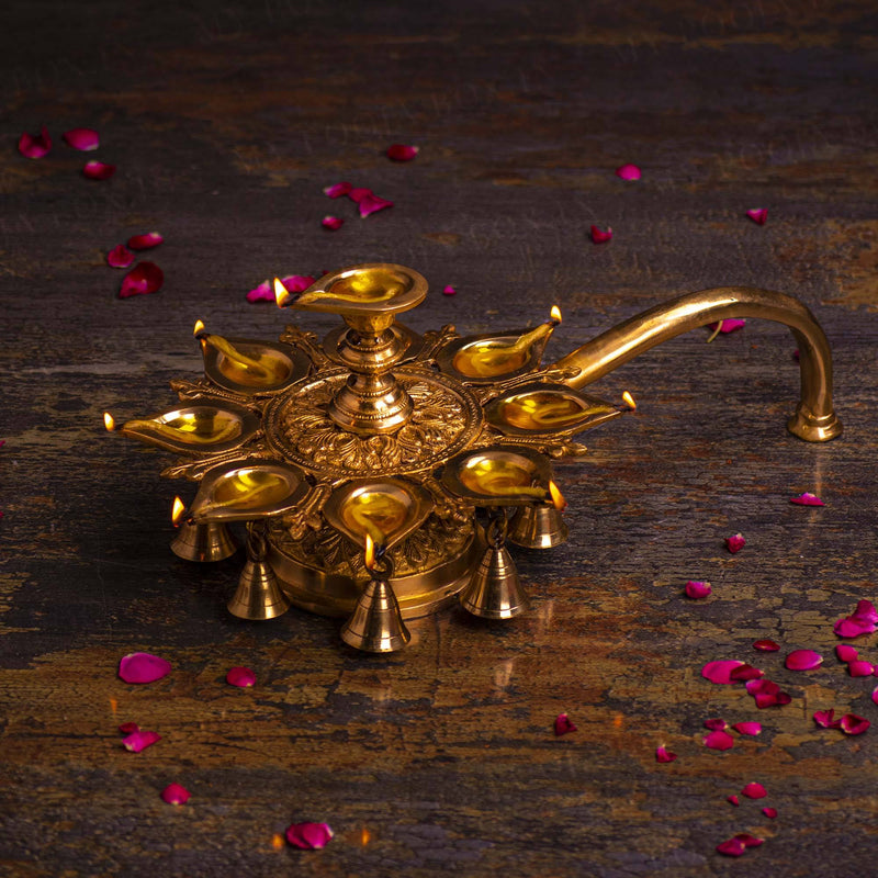 Elegant Brass Diya Stand With Bells