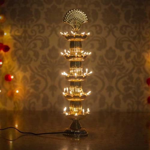 Traditional Peacock Style LED Diya