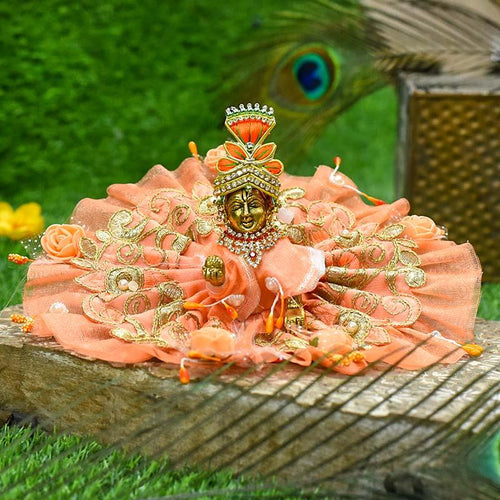 Elegant Net Embroidered Peach Krishna Poshak