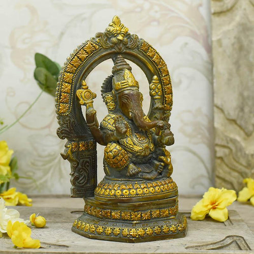 Graceful Brass Ganesh Idol