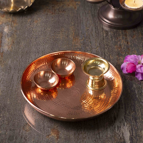 Divinity Pooja Thali Set - Rose Gold