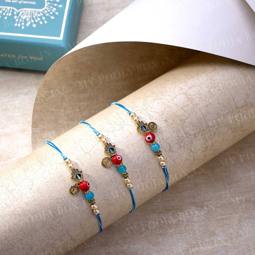 Evil Eye & Hamsa Hand Rakhi For Protection (Set of 3)