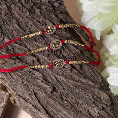 "Auspicious ""OM"" Beaded Rakhi (Set of 3)"
