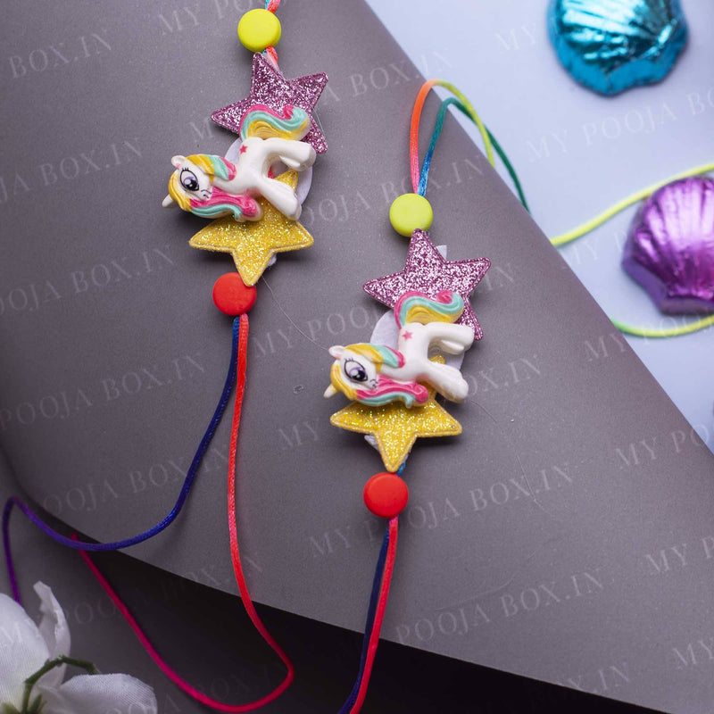 Cute Unicorn Colorful Kids Rakhi (Set of 2)
