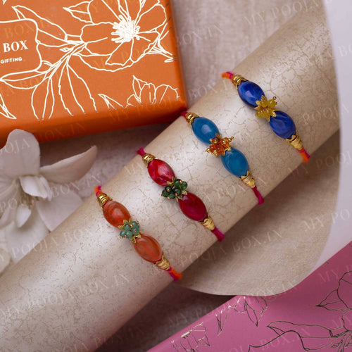 Aurora Beaded Rakhi Set of 4