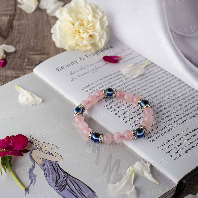 Rose Quartz & Evil Eye Healing Bracelet