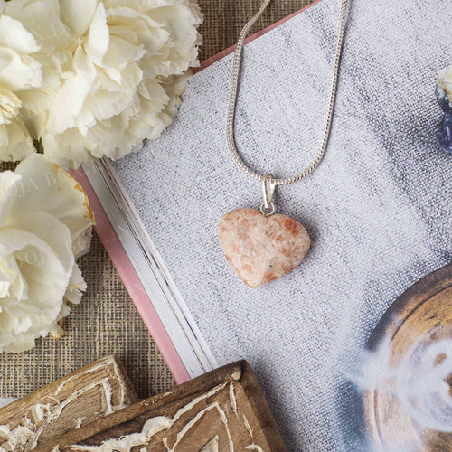 Sunstone Heart Pendant Necklace for Good Luck