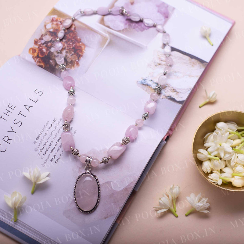 Rose Quartz Crystal Pendant Necklace