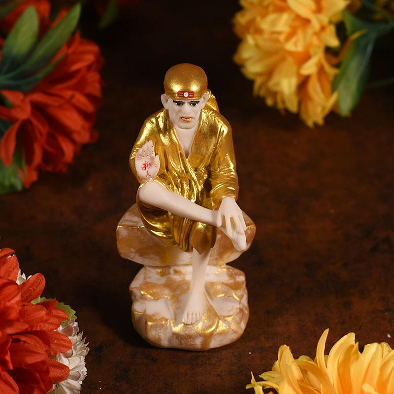 Divine Golden Sitting Sai Baba Idol