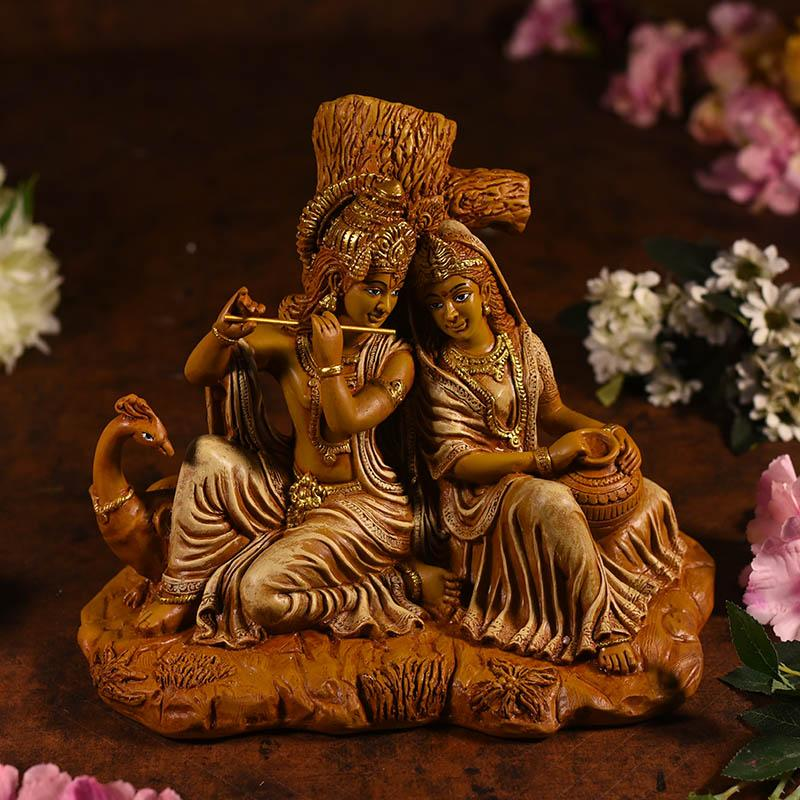 Beautiful Brown Radha Krishna Statue In Sitting Position