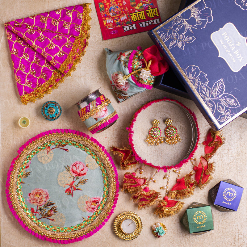 Blooming Peonies Floral Karwa Chauth Box