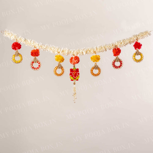 Exclusive Yellow and Red Flower Toran with Ganesha