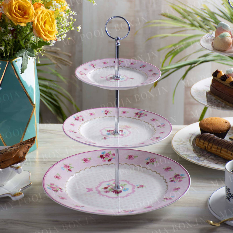 Floral Blush 3 Tier Serving Platter