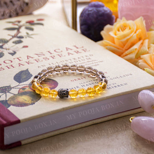Citrine & Smokey Quartz Healing Bracelet with Buddha Charm