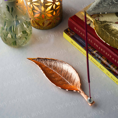 Rose Gold Incense Holder with Leafy Decor