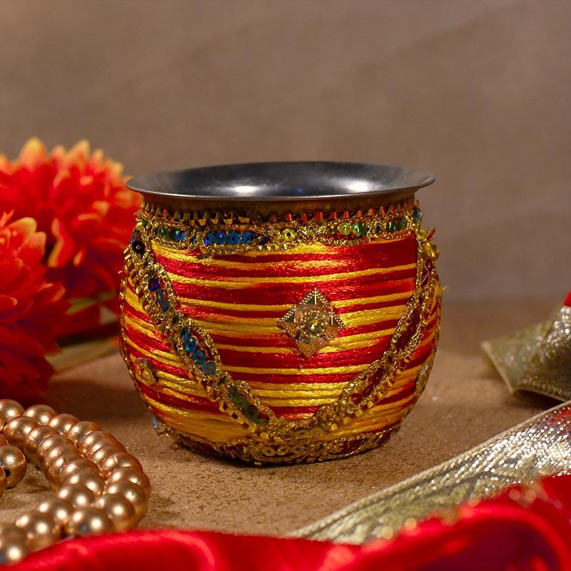 Silk Thread Covered Decorative Lota