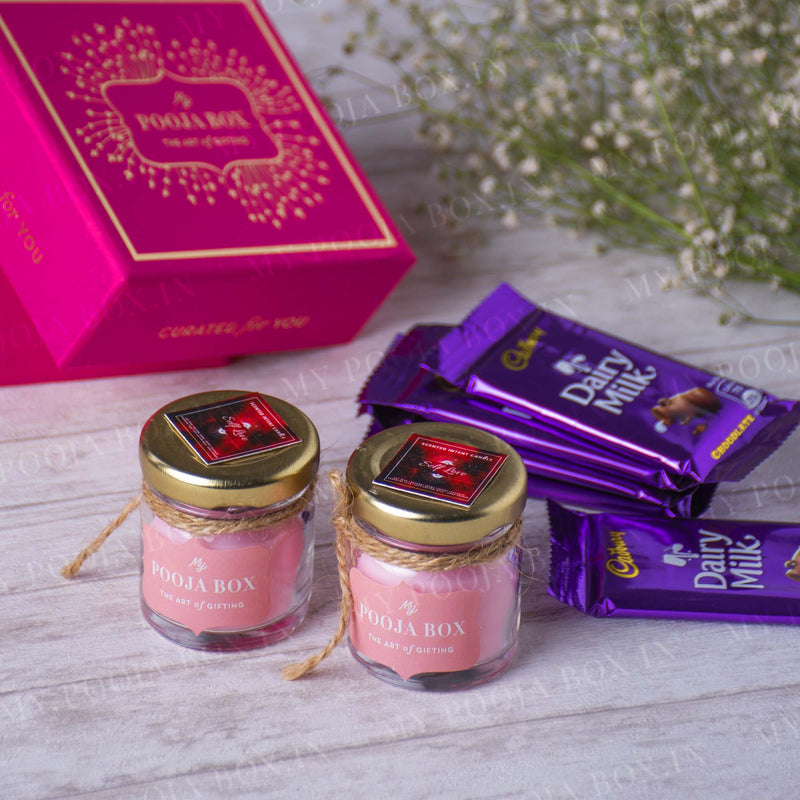 Pure Love Crystal Candle Gift Box with Chocolates