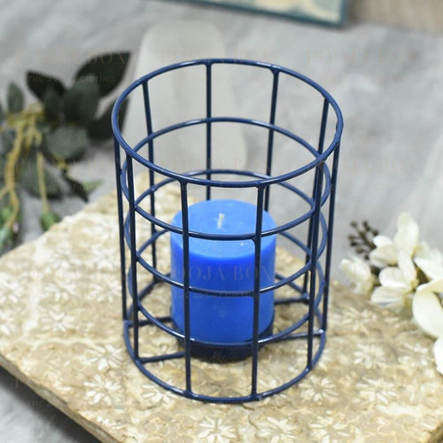 Blue Caged Single T-Light Holder Candle