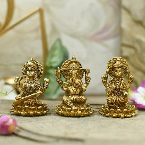 Brass Laxmi Ganesh Saraswati Idol Set Of 3 Idol