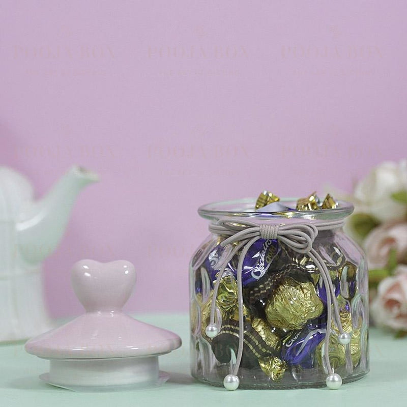 Charming Heart Shaped Chocolate Jar Crockery