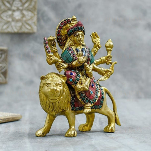 Decorative Colourful Brass Durga Idol Idol