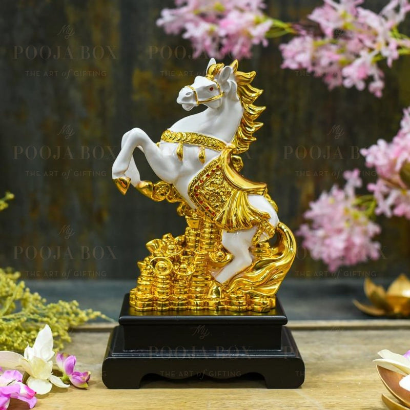 Gold Saddled Horse With Coins Feng Shui