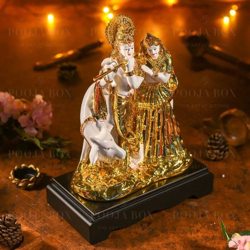 Golden White Radha Krishna With Cow Idols