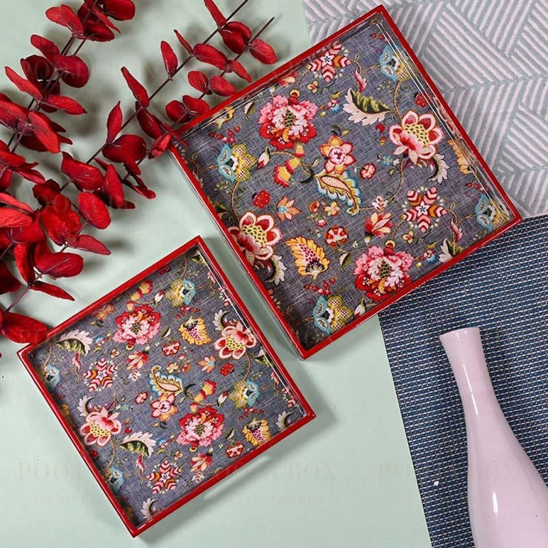 Grey Floral Serving Trays-Set Of 2 Crockery