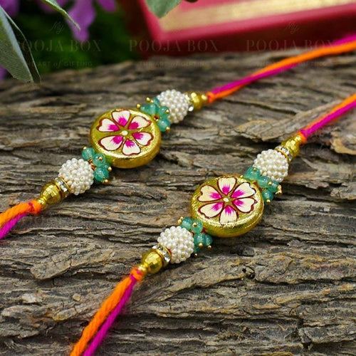 Hand Painted Round Floral Rakhis (Set Of 2) Rakhi
