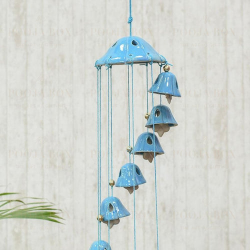 Handcrafted Blue Ceramic Wind Chime Chimes