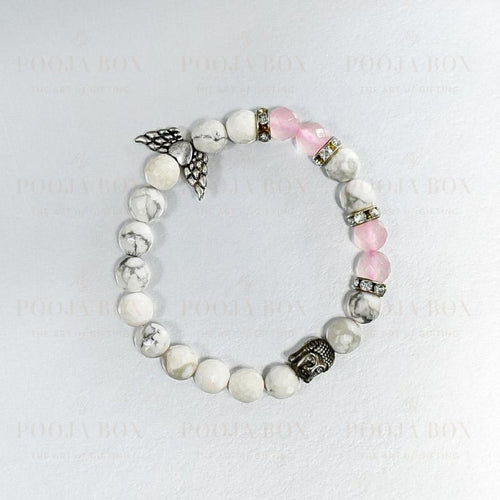 Howlite & Rose Quartz Bracelet With Buddha And Angel Wings