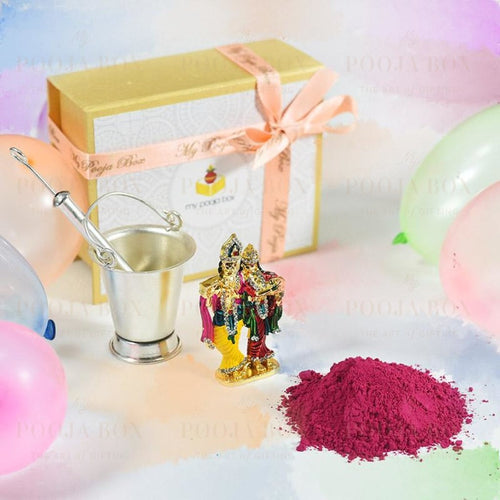 My Silver Holi Box With Radha Krishna Idol Pooja