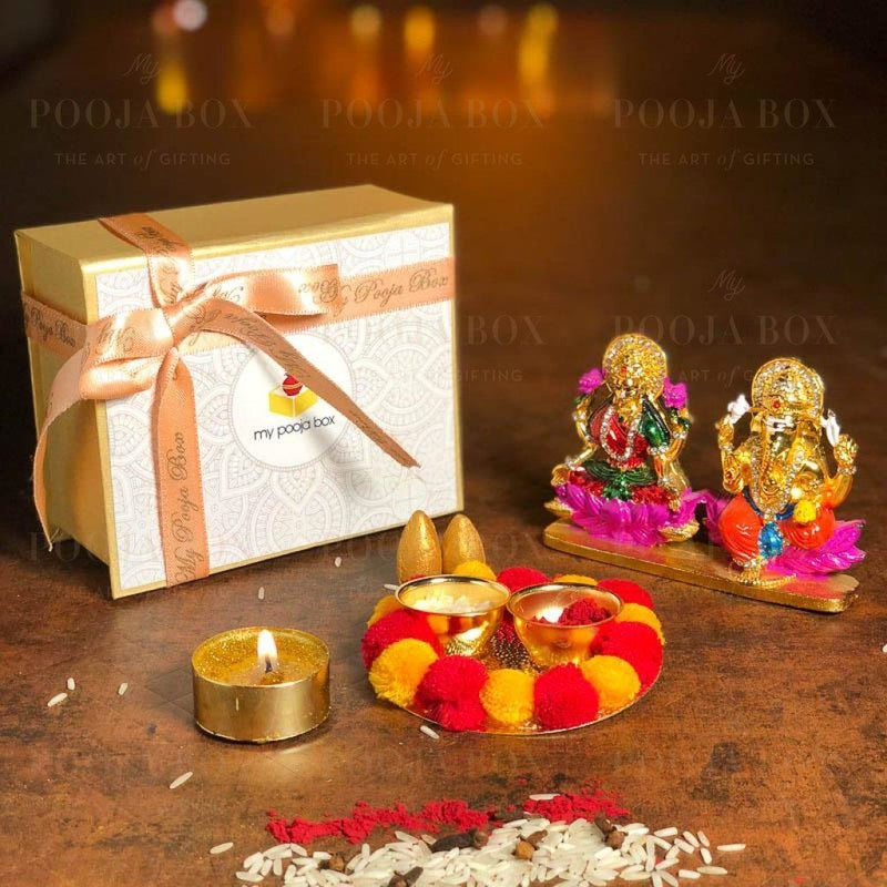 Petite Beautiful Colorful Diwali Pooja Box Poojaboxes