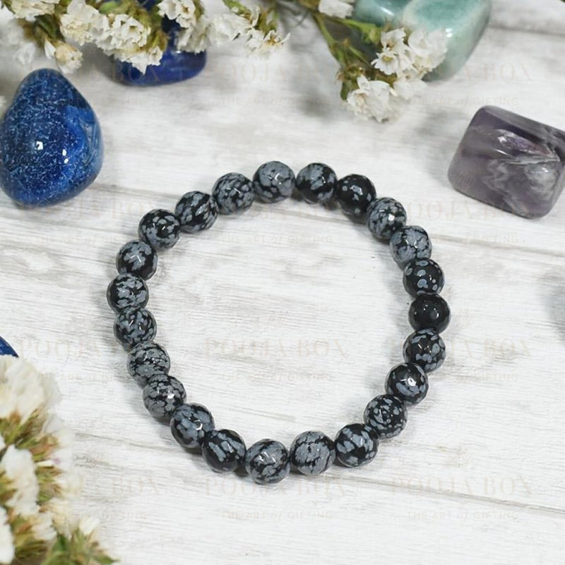 Snow Flake Obsidian Bracelet Balances Mind Body & Soul Reiki