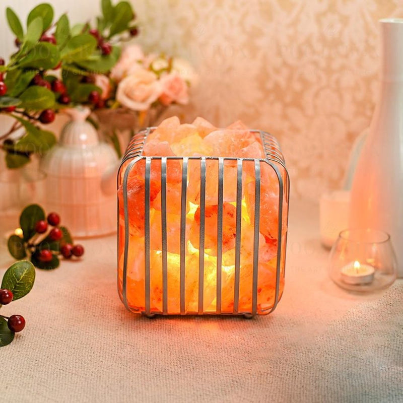 Square Iron Basket Himalayan Salt Lamp Salt Lamp