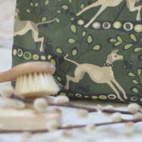 Whippet Green Oilcloth Washbag