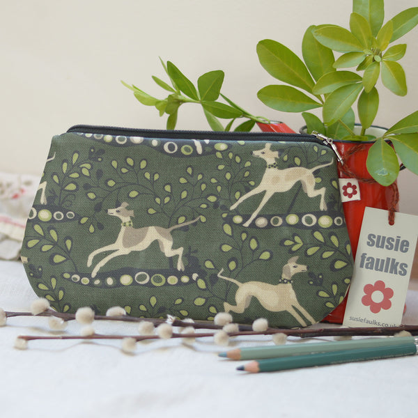 Whippet Green Oilcloth Purse