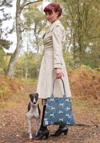 Whippet Oilcloth Tote Bag