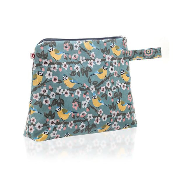Blue Tit Oilcloth Vegan Washbag by Susie Faulks