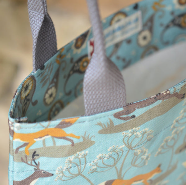Fox & Deer Tote Bag in Blue