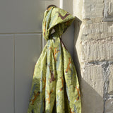 Fox & Deer Green cotton scarf