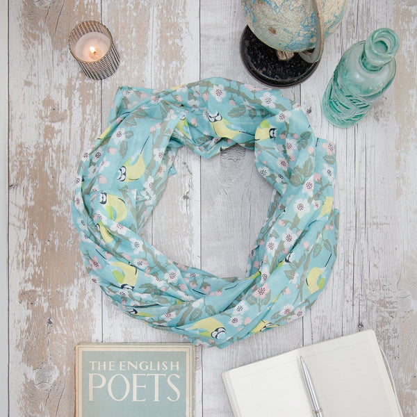 Blue Tit cotton scarf by Susie Faulks