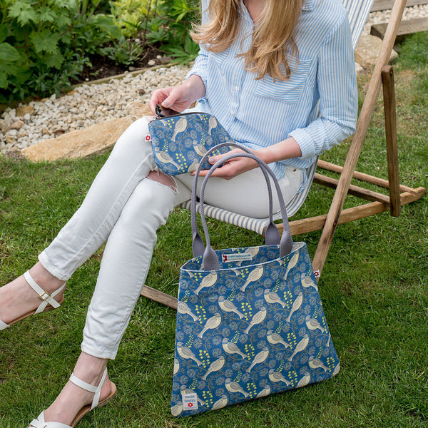Song Thrush Denim Oilcloth Tote Bag