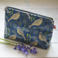 Song Thrush Denim Oilcloth Washbag